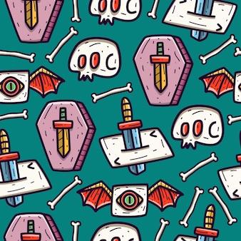 Papel de parede de desenho de padrão sem emenda de doodle de halloween