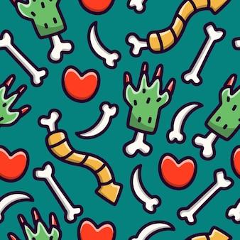 Papel de parede de design de padrão sem emenda de doodle de monstro