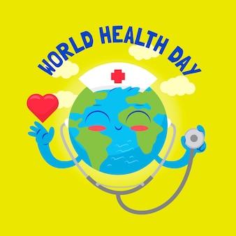 Papel de parede de design plano do dia mundial da saúde