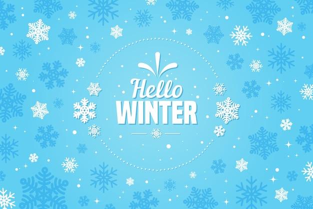 Papel de parede de design plano olá inverno