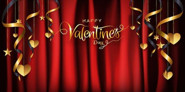 Papel de parede de dia dos namorados de luxo, fundo, corações e fita de suspensão