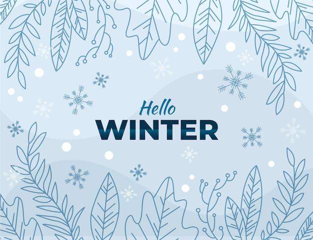 Papel de parede de folhas de inverno de design plano