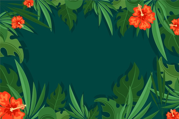 Papel de parede de folhas tropicais para zoom