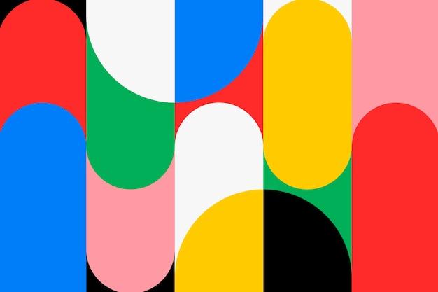 Papel de parede de fundo bauhaus, vetor colorido de cor primária