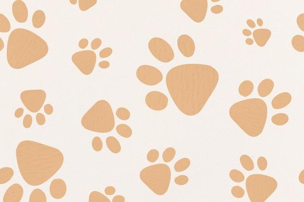 Papel de parede de fundo com padrão animal fofo, ilustração vetorial de impressão de pata