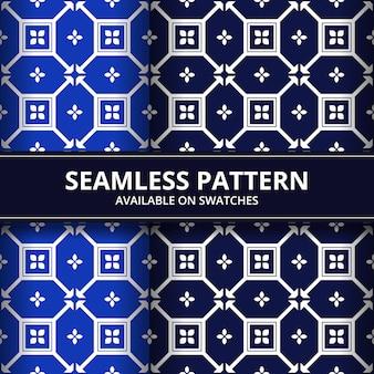 Papel de parede de fundo de forma geométrica batik sem costura padrão na cor azul e marinha