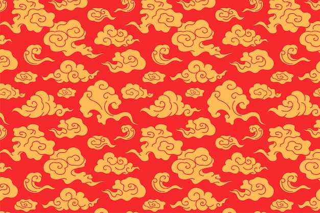 Papel de parede de fundo de nuvem, ilustração vetorial de padrão oriental vermelho