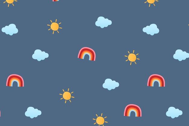 Papel de parede de fundo de padrão de clima fofo, ilustração vetorial de clima