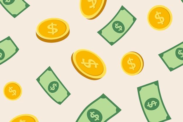 Papel de parede de fundo de padrão de dinheiro, ilustração vetorial de finanças