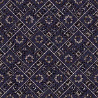 Papel de parede de fundo de tecido batik de forma geométrica de luxo nas cores marinha e dourada