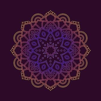 Papel de parede de fundo do padrão de mandala colorida gradiente. motivo floral em cor neon. têxtil de tecido arabesco.