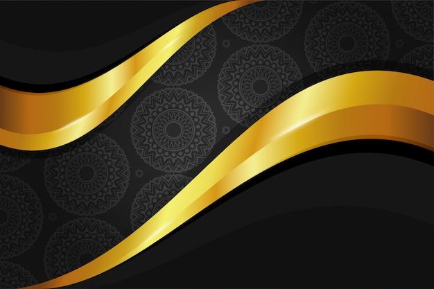Papel de parede de fundo dourado elegante com padrão de mandala sem costura na cor ouro preto