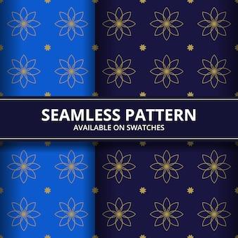 Papel de parede de fundo geométrico batik flores sem costura padrão na cor azul e marinha