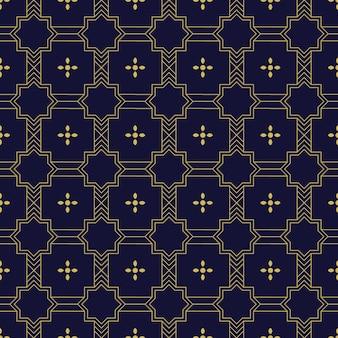Papel de parede de fundo geométrico islâmico padrão sem emenda em luxo ouro e cor da marinha