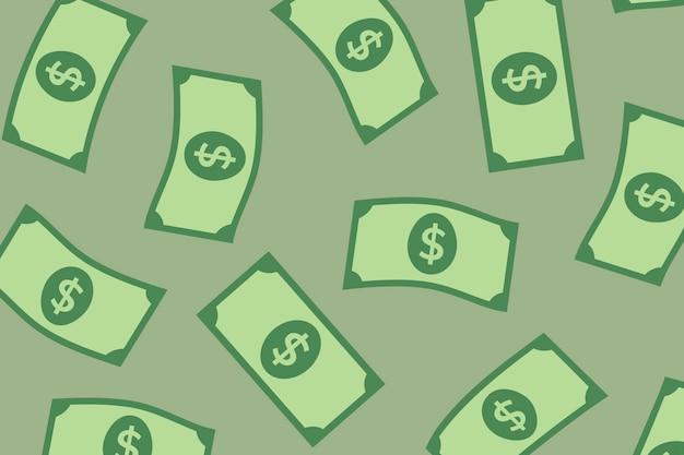 Papel de parede de fundo padrão de notas de dólar, ilustração de finanças de vetor de dinheiro