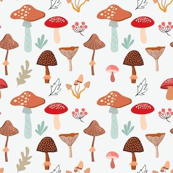 Papel de parede de fundo padrão sem costura outono com design sazonal deixa cogumelos e plantas