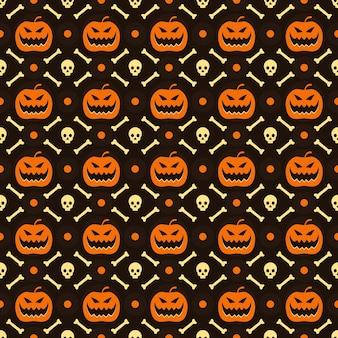 Papel de parede de fundo padrão sem emenda de halloween com crânio de abóbora e elemento de esqueleto ósseo