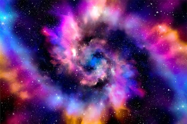 Papel de parede de galáxia em aquarela pintada à mão