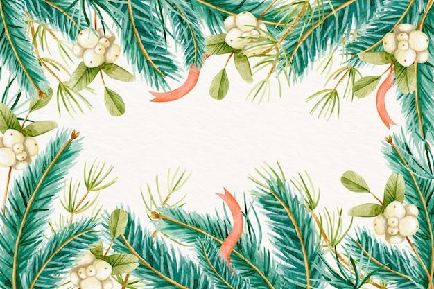 Papel de parede de galhos de árvores de natal em aquarela