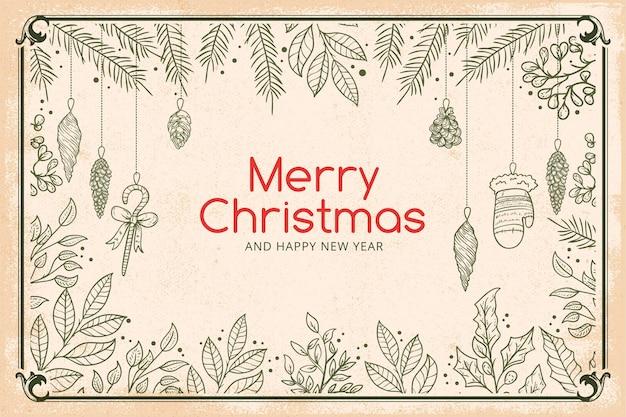 Papel de parede de galhos de árvores de natal vintage