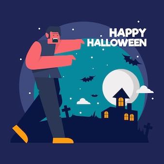 Papel de parede de halloween de design plano