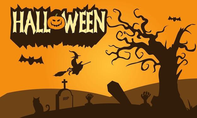 Papel de parede de halloween desenhado à mão