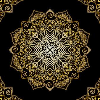 Papel de parede de mandala dourada de luxo