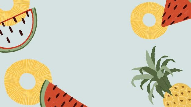 Papel de parede de melancia e abacaxi desenhado à mão