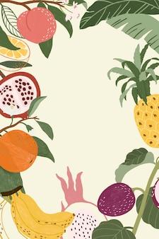 Papel de parede de molduras de frutas tropicais desenhadas à mão