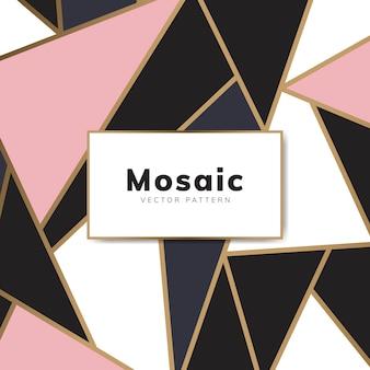 Papel de parede de mosaico moderno em ouro rosa, ouro e preto