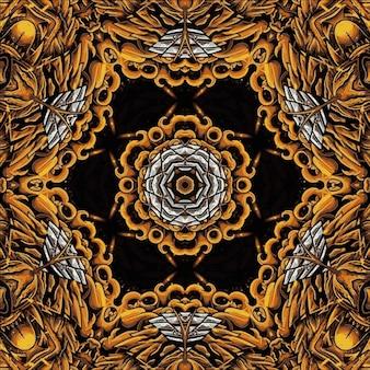 Papel de parede de padrão de mandala de caleidoscópio floral sem costura dourada