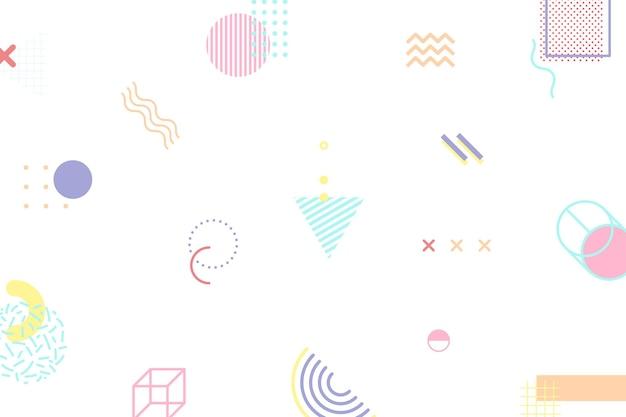 Papel de parede de padrão geométrico colorido abstrato de memphis
