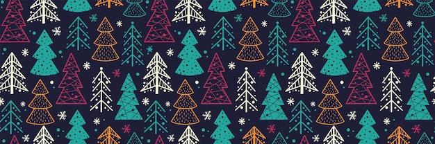 Papel de parede de padrão uniforme com silhueta da floresta de natal para a árvore de inverno do feriado de ano novo