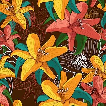 Papel de parede de padrão uniforme de flor desenhada à mão