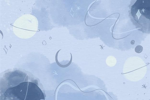 Papel de parede de planetas aquarela monocromáticos