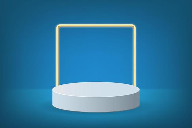 Papel de parede de pódio azul com quadrado dourado