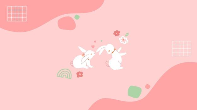 Papel de parede de primavera com ilustração minimalista Vetor grátis