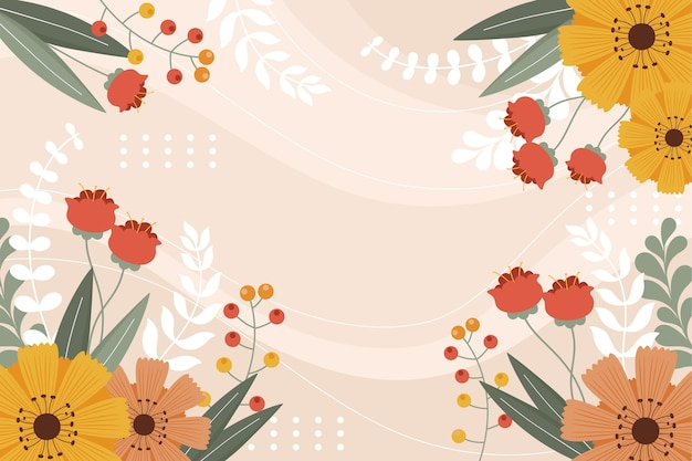 Papel de parede de primavera desenhado à mão