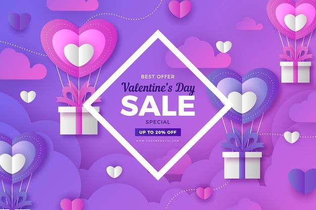 Papel de parede de promoção do dia dos namorados em estilo de papel