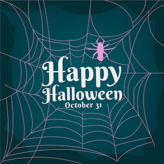 Papel de parede de teia de aranha de halloween de design plano