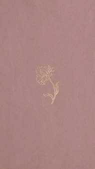 Papel de parede de telefone celular com contorno de flor de ouro