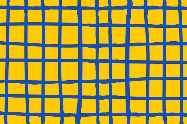 Papel de parede de vetor de grade azul em fundo amarelo