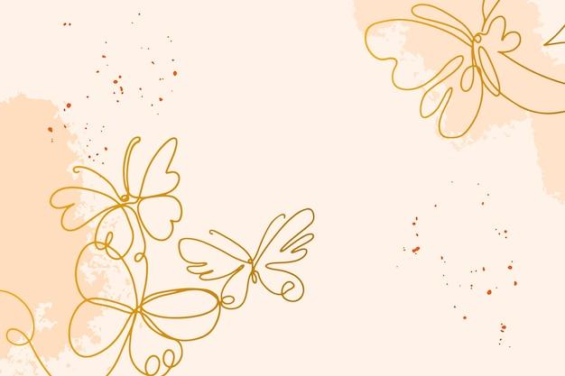 Papel de parede desenhado à mão com contorno de borboleta
