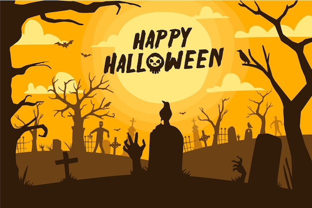Papel de parede desenhado à mão de halloween