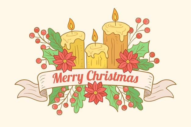 Papel de parede desenhado à mão vela de natal