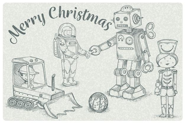 Papel de parede desenhado mão de brinquedos de natal