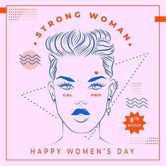 Papel de parede desenhado mão do dia da mulher