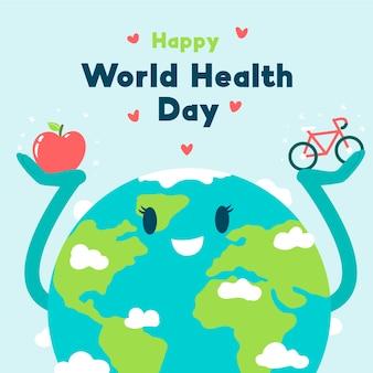 Papel de parede desenhado mão do dia mundial da saúde