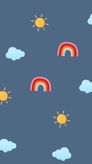 Papel de parede do celular, vetor de padrão meteorológico fofo