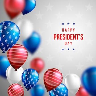 Papel de parede do dia do presidente com balões realistas
